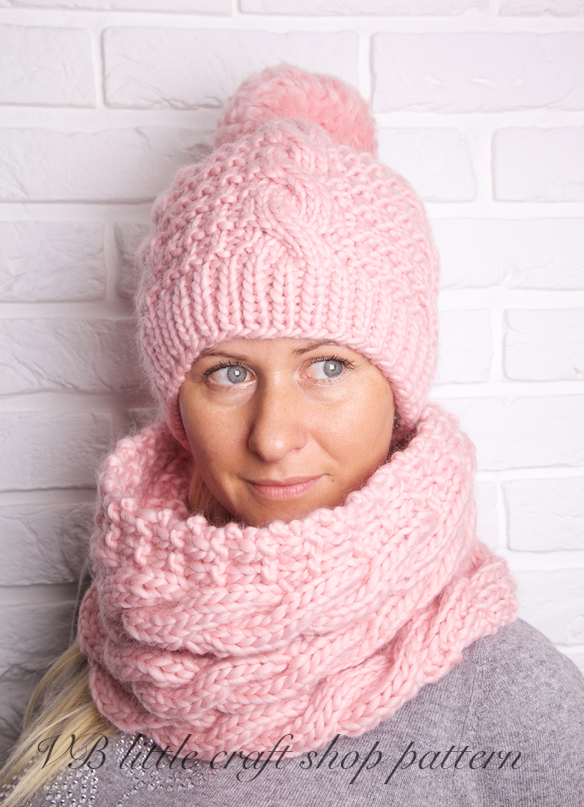 Knitting Pattern For An Aran Hat : Aran Hat And Cowl Knitting Pattern. on Luulla