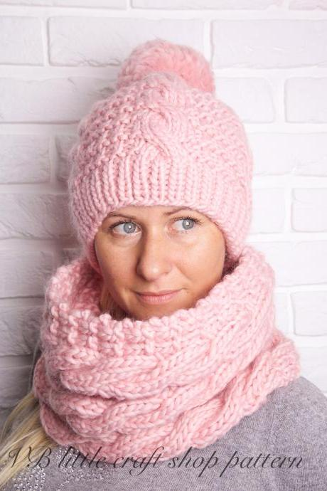 Aran Hat and Cowl knitting pattern.