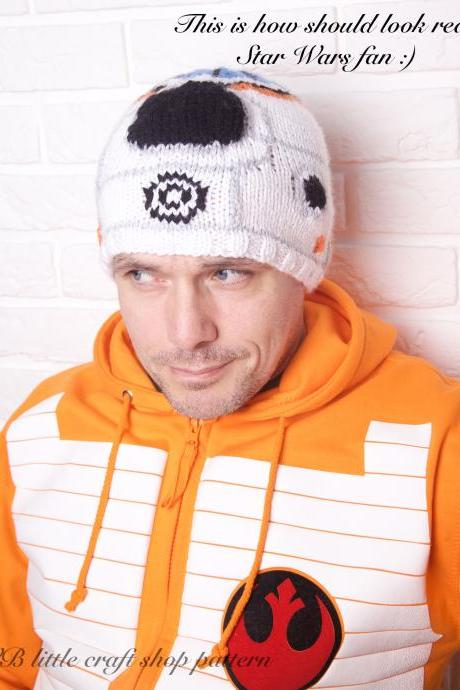 "Star Wars ""The Force awakens"" BB-8 hat knitting pattern."